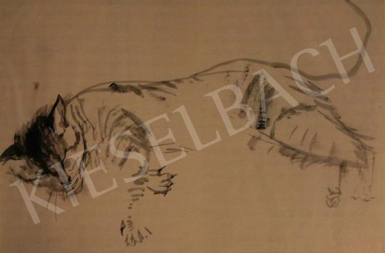 Hajnal János - Alvó tigris, 1939 festménye
