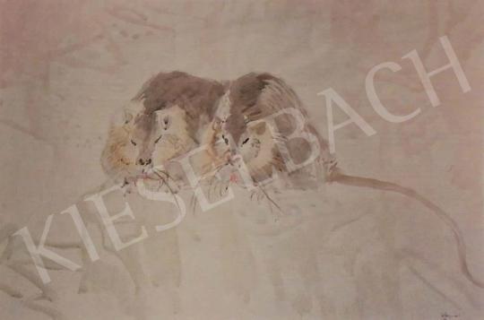 Hajnal János - Patkányok, 1940-50-es évek festménye