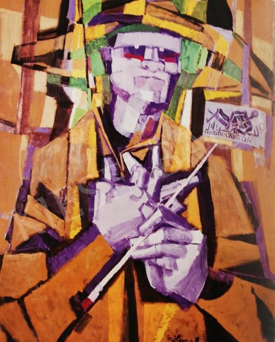 Hajnal János - Önarckép (Ismerd meg önmagad), 1978 festménye