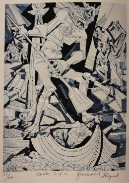 Hajnal János - Illusztráció, Dante: Isteni színjáték, Pokol III. ének, 1980-as évek