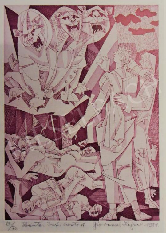 Hajnal János - Illusztráció, Dante: Isteni színjáték, Pokol, VI. ének, 1980-as évek festménye