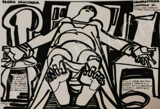 Hajnal János - Illusztráció, Regola Sanitaria Salerintana, IC. fejezet, 1977 festménye