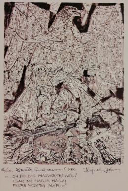 Hajnal János - Illusztráció, Dante: Isteni színjáték, Paradicsom, XIX. ének, 1980-as évek