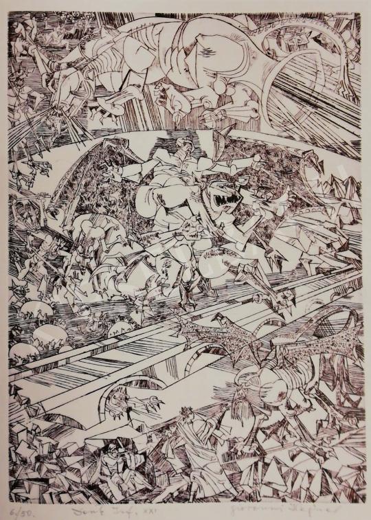 Hajnal János - Illusztráció, Dante: Isteni színjáték, Pokol, XXI. ének, 1980-as évek festménye