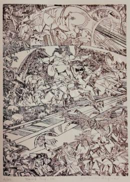 Hajnal János - Illusztráció, Dante: Isteni színjáték, Pokol, XXI. ének, 1980-as évek