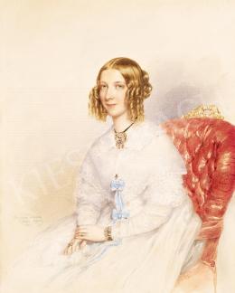 Barabás Miklós - Fiatal lány kék szalagos ruhában, 1844
