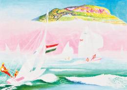 Somogyi, Győző - Lake Balaton with Badacsony in the Background (Sailing Boats)