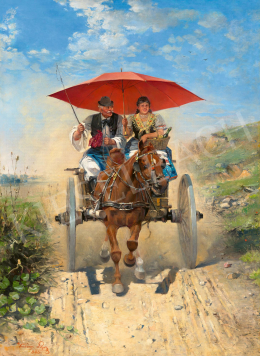 Kubányi, Lajos, - The Red Parasol, 1893