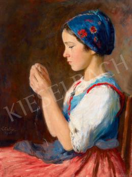 Glatz Oszkár - Kék főkötős kislány