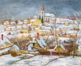 Szlányi Lajos - Téli falu a domboldalon