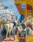Scholz Erik - Párizsi művészkávéház, 1960-as évek festménye