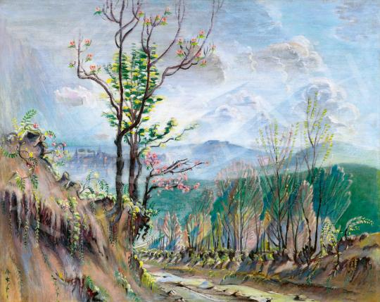 Boromisza Tibor - Cseresznyevirágzás háttérben a Budai várral és a Gellértheggyel, 1933-37 körül | 59. Őszi Aukció aukció / 22 tétel