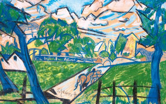 Scheiber Hugó - Kék táj lovaskocsival, híddal, 1920-as évek második fele   59. Őszi Aukció aukció / 27 tétel