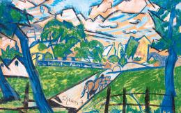 Scheiber Hugó - Kék táj lovaskocsival, híddal, 1920-as évek második fele