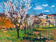 Boldizsár István - Virágzó fák Zánkán (Tavasz) festménye