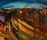 Schönberger, Armand - City (Rails), c. 1930 painting