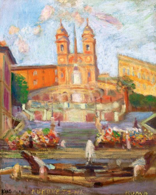 Kukovetz Nana - A római Piazza di Spagna a Fontana di Brancacciával, a Spanyol lépcsővel és a Trinita dei Monti temp | 59. Őszi Aukció aukció / 39 tétel