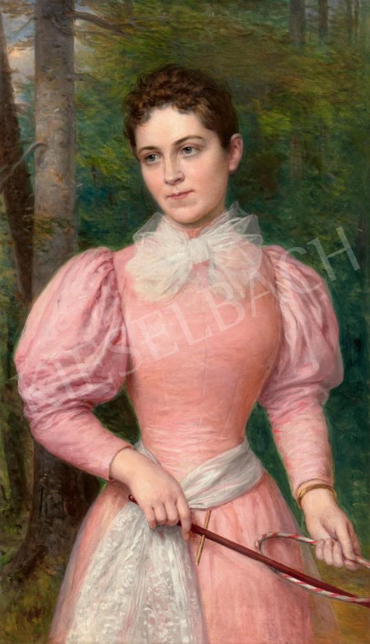 Barabás Miklós - Fiatal lány masnis rózsaszín ruhában karikajátékkal (A művész unokája, Szegedy-Maszák Leóna festőnő    59. Őszi Aukció aukció / 45 tétel