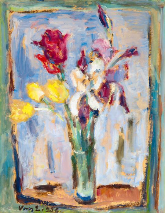 Vass Elemér - Virágcsendélet ablakban, 1956 | 59. Őszi Aukció aukció / 48 tétel