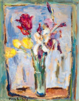 Vass Elemér - Virágcsendélet ablakban, 1956
