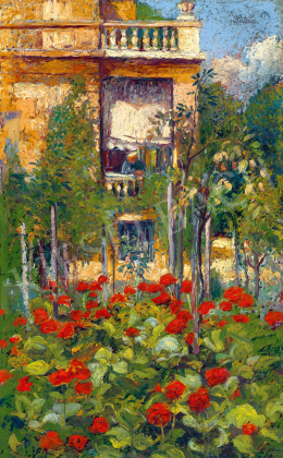 Kotász, Károly - Flower Garden with a Woman in the Window