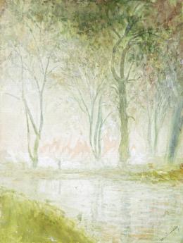 Mednyánszky László - Hajnali patakpart tükröződő alakkal