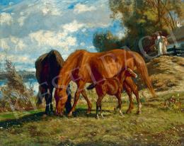 Lotz Károly - Legelésző lovak, 1860-as évek eleje