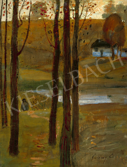 Gulácsy, Lajos - Wanderer in Landscape (On the Way), c. 1910 | 59th Autumn Auction auction / 87 Item