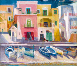 Döbröczöni, Kálmán - Houses with Boats in the Gulf of Naples, 1930s