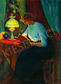 Kádár, Géza - Winter Evening Mood (Girl Reading by a Green Lamp), 1913