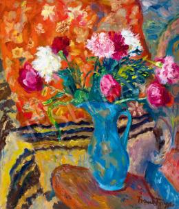 Frank Frigyes - Műtermi csendélet szőttesekkel és kék vázával