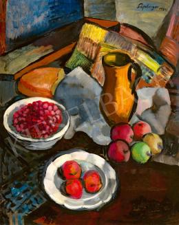 Schönberger Armand - Rálátásos műtermi csendélet gyümölcsökkel, 1934