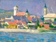 Rózsaffy, Dezső - Town by the Danube painting