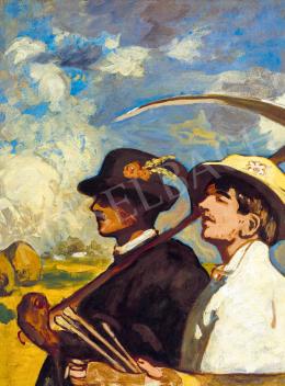 Iványi Grünwald Béla - Festő önarcképe virágos kalapban, 1903 körül