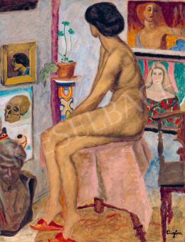 Sassy Attila - Piros papucsos lány (A művész műterme), 1910 körül