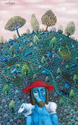 Galambos, Tamás - Shepherd with Flowery Hillside