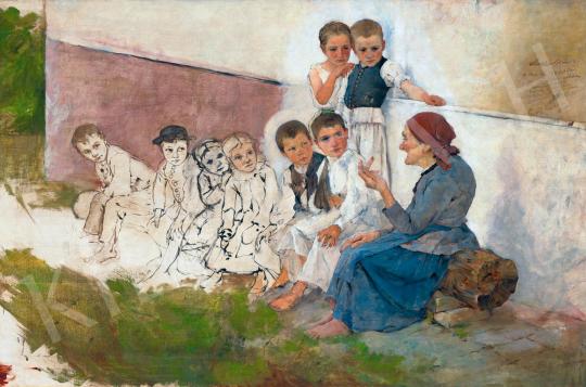 László Fülöp - Mesét hallgató gyerekek, 1891   59. Őszi Aukció aukció / 163 tétel