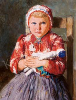 Glatz, Oszkár - Girl with Blue Eyes with a Doll
