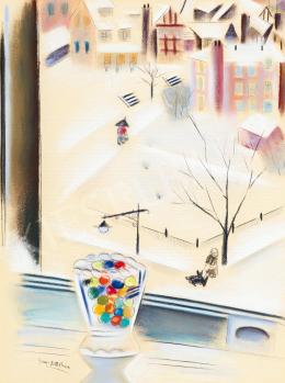 Gross-Bettelheim, Jolán - Colourful Glass Marbles in the Window in New York