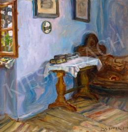 Perlmutter Izsák - A művész kék falú szobája tükröződő ablakokkal, 1904
