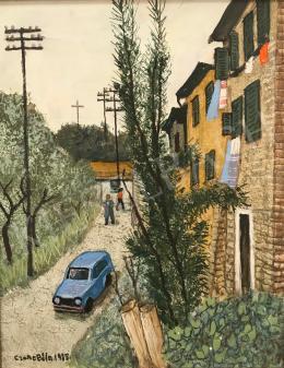 Czene, Béla jr. - Itáliai Landcape with a Blue Car, 1985