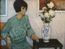 Czene, Béla jr. - Female Portrait with Flowers