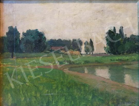 Eladó Kléh János - Vízparti táj háttérben házzal festménye