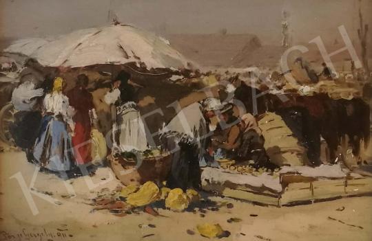 Eladó Pörge Gergely - Piaci jelenet festménye