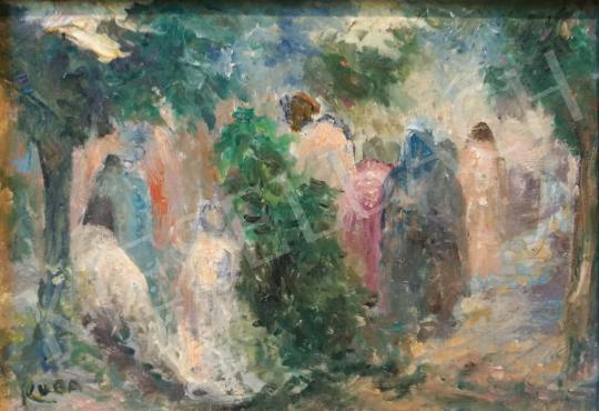 Eladó Ismeretlen magyar festő - Csoportjelenet festménye