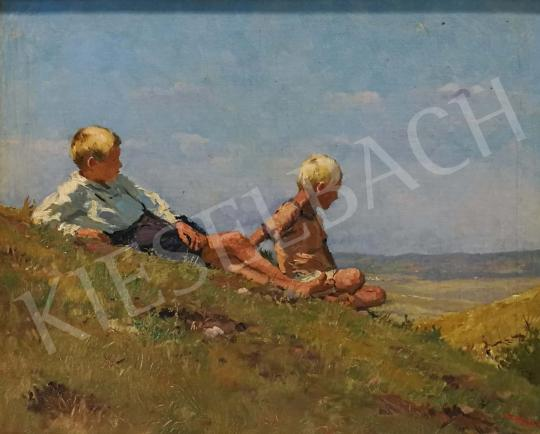 Mérő István - Fiúk a domboldalon festménye