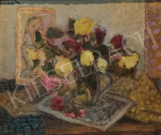 Modok Mária - Virágcsendélet rózsákkal festménye