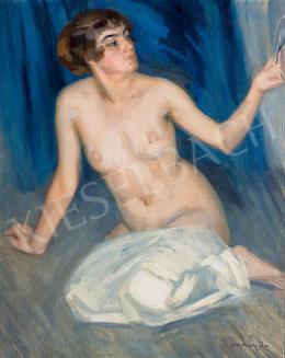 Vaszary János - Női akt tükörrel és kék drapériával, 1905 körül