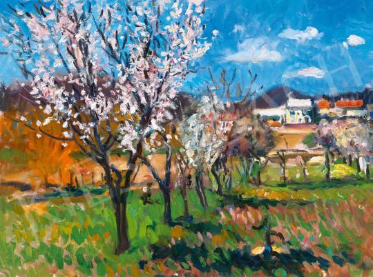 Eladó  Boldizsár István - Virágzó fák Zánkán (Tavasz) festménye