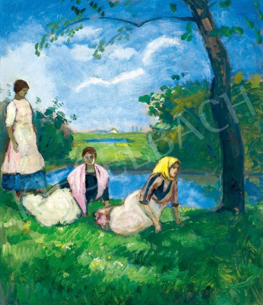 Eladó  Iványi Grünwald Béla - Szabadban festménye